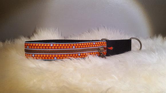 Paprika Zipp-Halsband Punkte, rot orange
