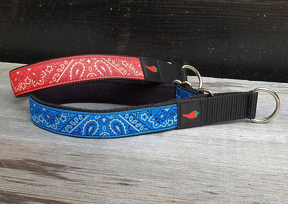 Paprika-Halsband Bandana, blau oder rot