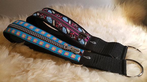 Paprika Zipp-Halsband Blümchen, petrol