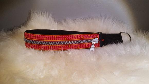 Paprika Zipp-Halsband Blätter, pink-rot