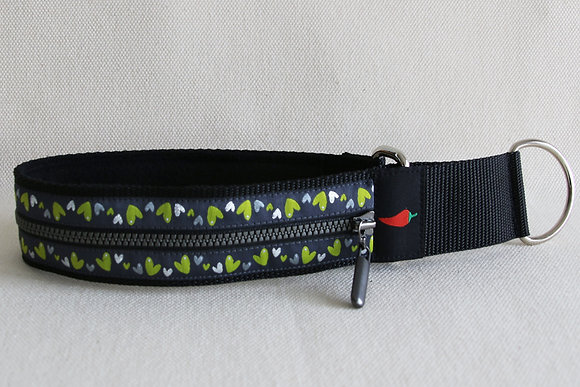 Paprika Zipp-Halsband Herzerl, lime silber