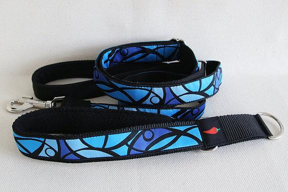 Paprika-Führleine Mosaik, blau