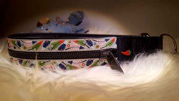 Paprika Zipp-Halsband Federspiel