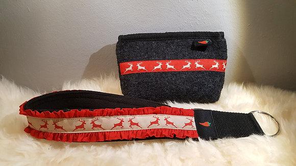 Paprika-Halsband Hirsch+Doppelrüsche, rot