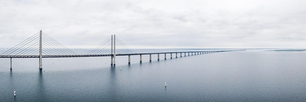 Aerial view of the bridge between Denmar