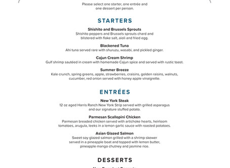 Shugrue's PRIX-FIXE Menu for Havasu Restaurant Week! Sept 18th-27th
