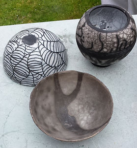 Naked raku fired pots