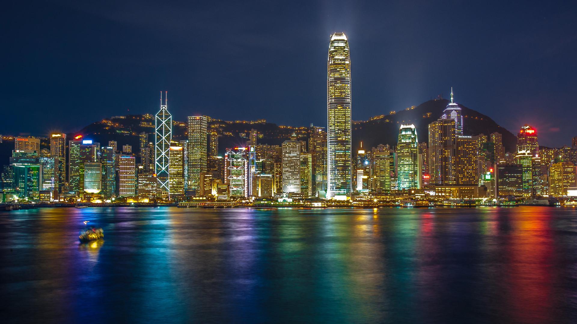Hong Kong Island skyline in colour