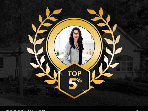 So honored to be awarded the Top 5% Real Estate Agent Award