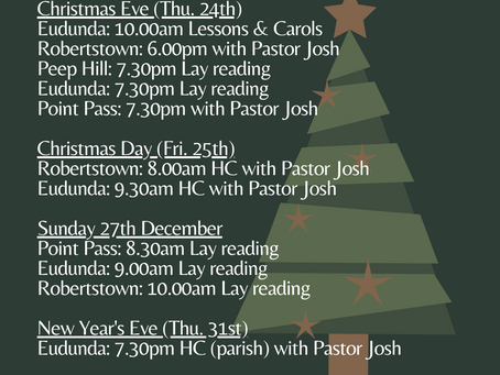 Updated Christmas Service Times