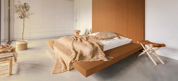 Bett und Schränke