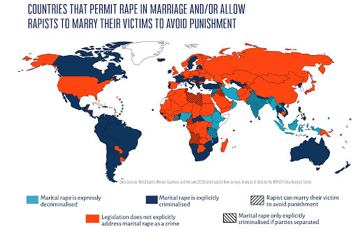 Countries permitting rape in marriage