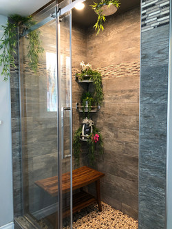 Shower bench and accessories shelves