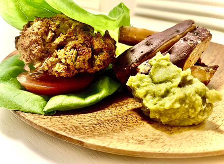 'Feed Your Hair' Chickpea Almond and Edamame Bean burger with Baked sweet Potatoes and Chill Avocado