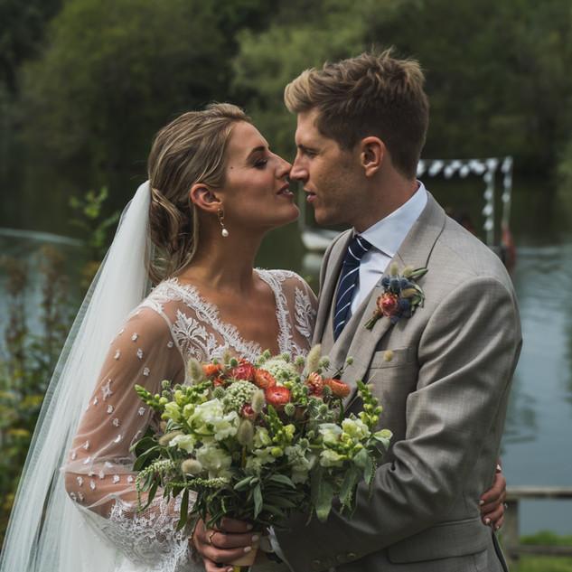 Wedding photo lake white dress