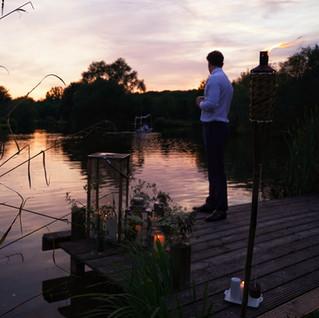 Wedding photo sunset lake