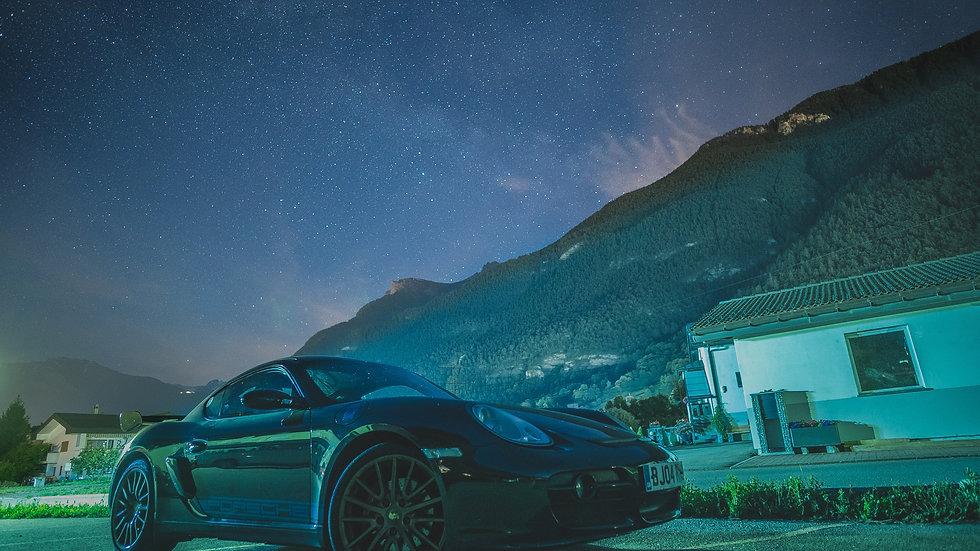 Porsche under the stars