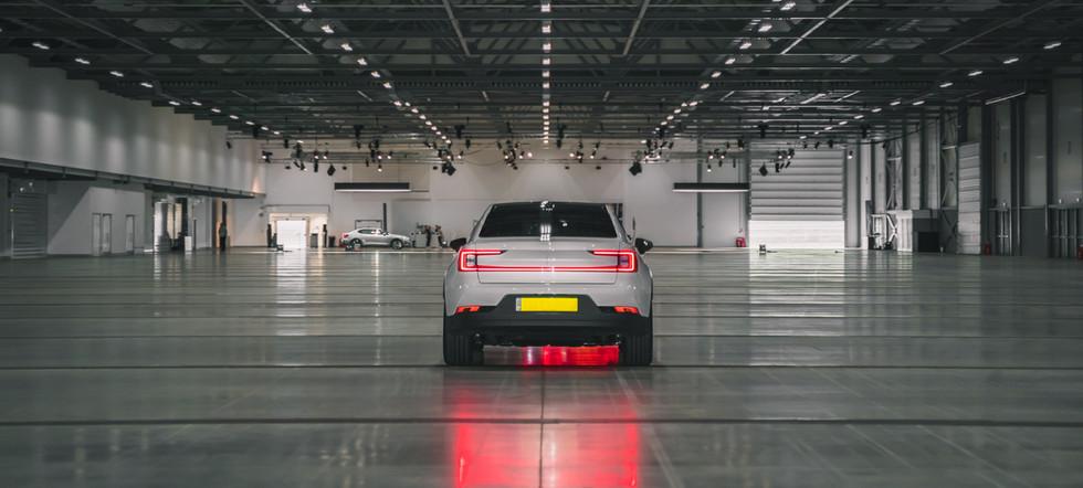 white polestar garage tail lights