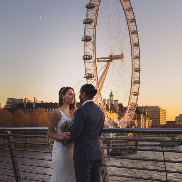 wedding london eye sunset married