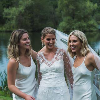 Wedding photo lake white dress bridesmaid