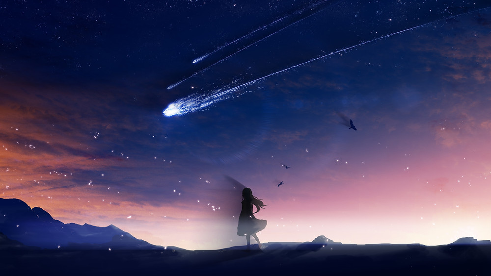 Girl Watching Landscape, Asteroid In Sky