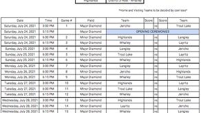 Provincials Schedule