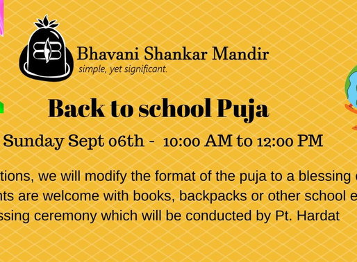 Back to School Puja - Sept 5