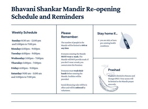 Bhavani Shankar Mandir Re-opening Schedule and Reminders