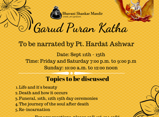 Garuda Puran Katha: Sept 11-13
