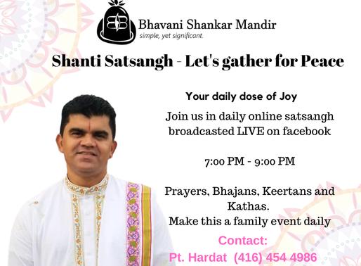 LIVESTREAM: Shanti Satsangh Every Night at 7 PM