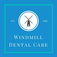 Windmill Dental Care Motherwell Logo, Date established 1995 set in logo, Black Windmill in white circel with royal blue background set in a square