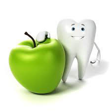 Healthy white tooth and green apple
