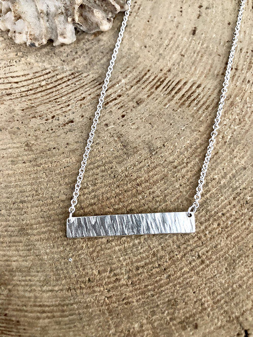 Heavy Textured Sterling Silver Bar Necklace
