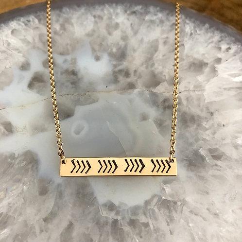 Gold Chevron Bar Necklace
