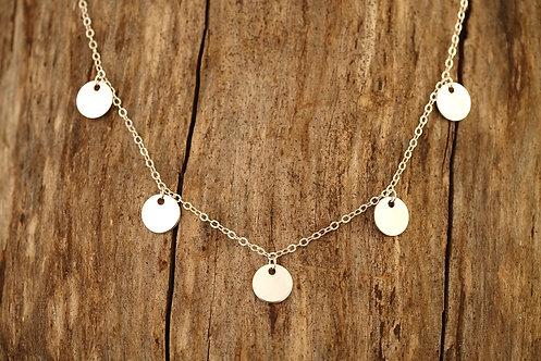 Silver Bali 5 Suns Necklace
