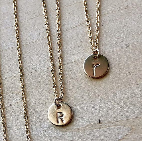 Gold Letter Medallion Necklace
