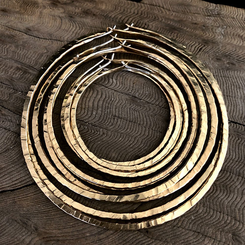 "4"" Gold Round Textured Hoops"
