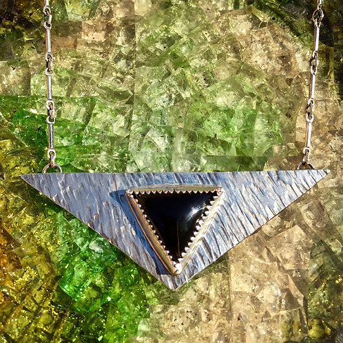 Textured Triangle Onyx Necklace