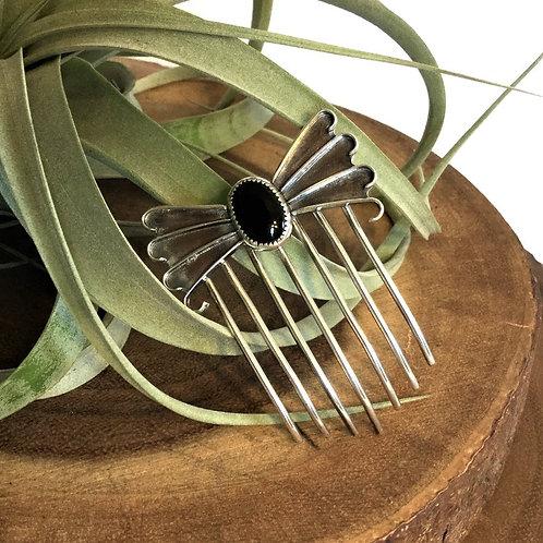 Onyx Oval Hair Comb