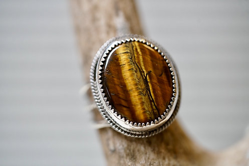 Triple Shank Tigers Eye Ring