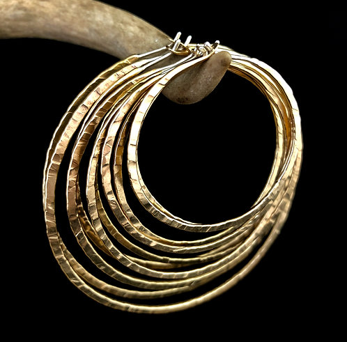 "6"" Gold Round Textured Hoops - WHOLESALE"