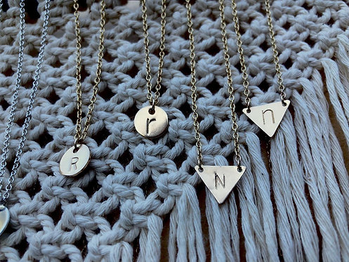 Gold Triangle Letter Necklace