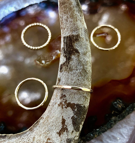 Gold Hammered Stacker Ring