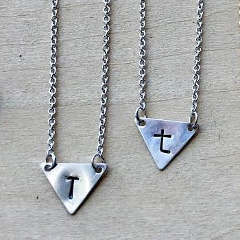 Silver Triangle Letter Necklace