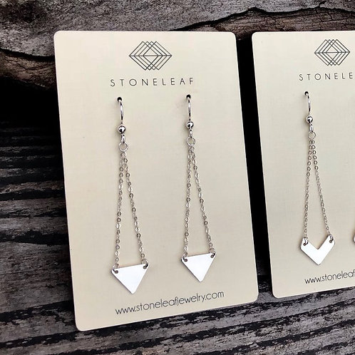 Silver Triangle Drop Earrings - WHOLESALE