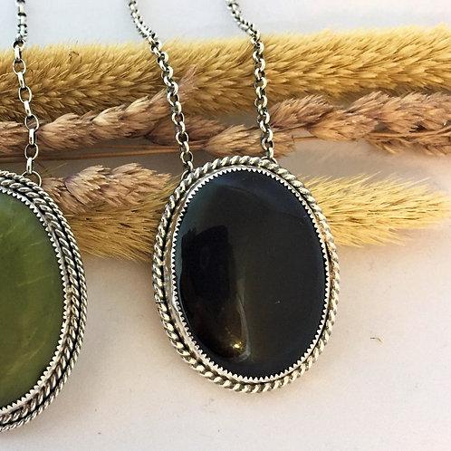 Large Onyx Pendant Necklace