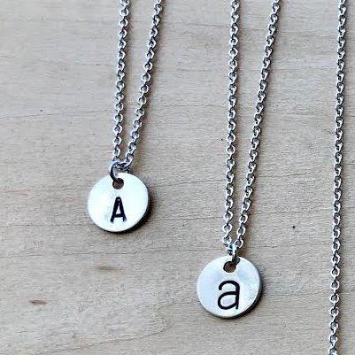 Silver Letter Medallion Necklace - WHOLESALE