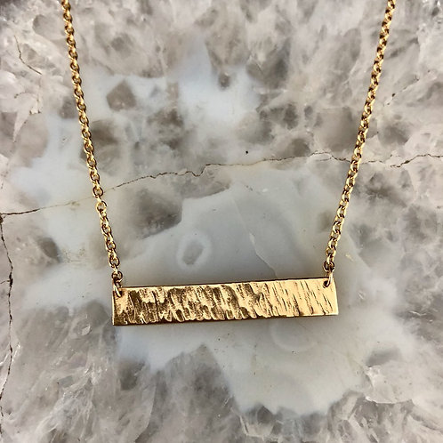 Gold Heavy Textured Bar Necklace