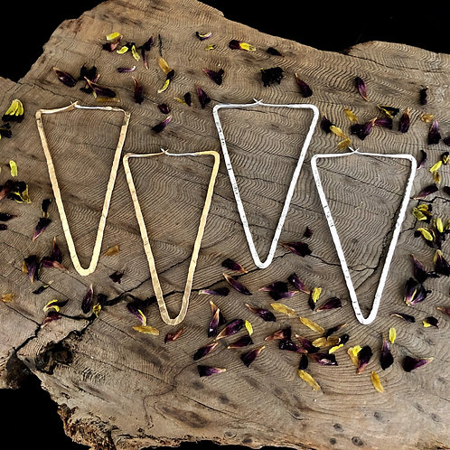 "6"" Gold Triangle Hoops - WHOLESALE"