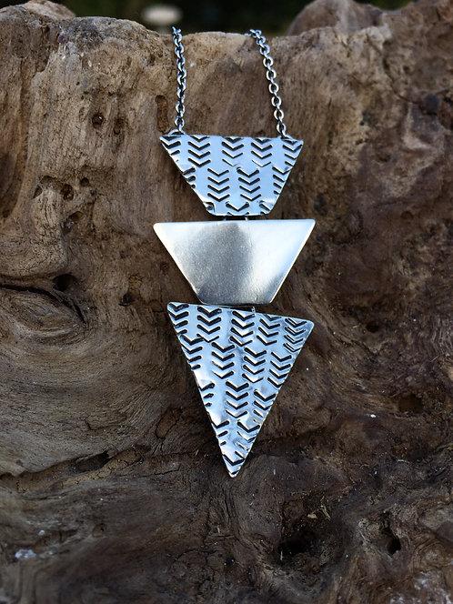 Chevron Triple Triangle Necklace